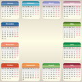 Vector calendar vector eps the colored blocks are labeled by month of holidays and weekends Royalty Free Stock Photo