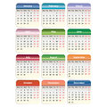 Vector calendar vector eps the colored blocks are labeled by month of holidays and weekends Stock Photography