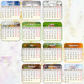 Vector calendar vector eps the colored blocks are labeled by month of holidays and weekends Royalty Free Stock Image