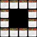 Vector calendar vector eps style khokhlo the colored blocks are labeled by month of holidays and weekends Royalty Free Stock Photos