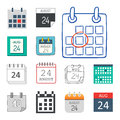 Vector calendar web icons office organizer business graphic paper plan appointment and pictogram reminder element for