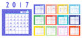 Vector of Calendar 2017 year ,12 month calendar with colorful re
