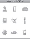 Vector call center square gray set icons file eps format Royalty Free Stock Photo