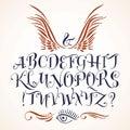 Vector calligraphic alphabet written with soft brush.