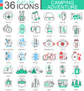 Vector Camping adventure flat line outline icons for apps and web design. Camping adventure icon.