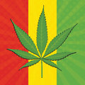 Vector cannabis leaf and flag of ethiopia in background Stock Photos
