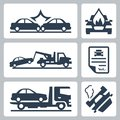 Vector car accident icons set breakdown truck and Stock Photos