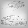 Vector car sketch abstract illustration of a sketched on white Royalty Free Stock Photo