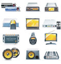 Vector car stereo systems icons Stock Photo