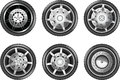 Vector car tire icons. Wheels Royalty Free Stock Photo
