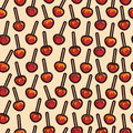 Vector caramelized apples with different toppings pattern