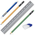 Vector Carbon pencil. Pencil eraser ruler and pen on white background. Object tool for office stationery and school.