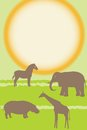 Vector card with african animals silhouettes over sun Royalty Free Stock Photo