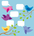 Vector card with birds and speech bubbles Stock Images