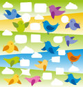Vector card with birds and speech bubbles Royalty Free Stock Photos
