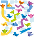 Vector card with birds and speech bubbles Stock Photography