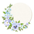 Vector card with blue and purple pansy and forget me not flowers eps circle pansies Stock Photos