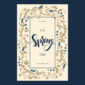 Vector card design with floral hand drawn field flowers and hand drawn words it`s spring time in a square frame