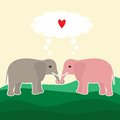 Vector card with elephant couple in love Stock Image