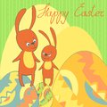 Vector card happy easter rabbit eggs frame Stock Image