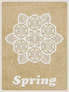 Vector card with retro flower white paper cut on rough paper texture cooper std standart ai font Royalty Free Stock Photos