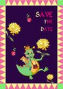Vector card Save the date. Happy dragon and flowers. Royalty Free Stock Photo