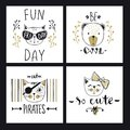 Vector card series with cute fashion cats. Stylish kitten set. T