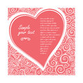 Vector card in shape of heart on a rose background of ornate pattern. Design wedding invitation, greeting Valentine`s Royalty Free Stock Photo
