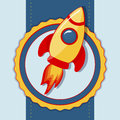 Vector card with space rocket illustration Royalty Free Stock Images