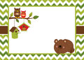 Vector Card Template with a Cartoon Bear, Owls on the Branch, Birdhouses on Chevron Background.