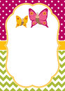 Vector Card Template with Cartoon Butterflies on Polka Dot and Chevron Background. Vector Butterflies.