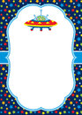 Vector Card Template with a Cute Alien and UFO on Stars Background. Royalty Free Stock Photo