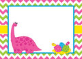 Vector Card Template with a Cute Cartoon Dinosaur on Chevron Background. Royalty Free Stock Photo
