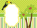 Vector Card Template with a Cute Cartoon Toucan and Palm Trees.