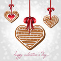 Vector card valentines day hearts shaped cookies Royalty Free Stock Images