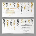 Vector cards with silver, gold, black serpentine, ribbon, dust confetti on white background