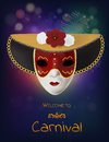 Vector carnival mask with flowers and feathers. Invitation to carnival with colorful shiny background and venetian red mask.