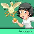 She is carrying golden egg with a goose and golden eggs background.