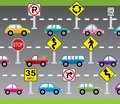 Vector cars and road signs Stock Images