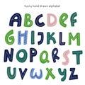 Vector cartoon alphabet on white background