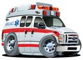 Vector Cartoon Ambulance Car Stock Image