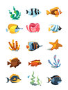 Vector cartoon aquarium decor objects, underwater assets for mobile phone game