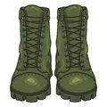 Vector Cartoon Army Boots. High Military Shoes Royalty Free Stock Photo