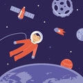 Vector cartoon astronaut in space illustration flat style Royalty Free Stock Images