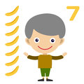 Vector cartoon boy learning game card Royalty Free Stock Photo