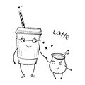 Vector cartoon characters, latte with cream