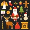 Vector cartoon Christmas, New Year icons