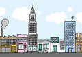 Vector cartoon city color neighborhood or Royalty Free Stock Image