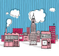 Vector cartoon city neighborhood or Royalty Free Stock Images