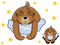 Vector cartoon color cute Teddy bear sleeping on a cloud